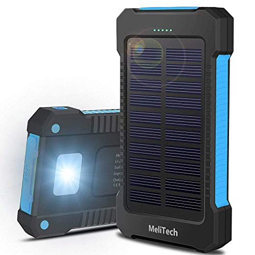 Portable Solar Charger Waterproof Cell Phone Power Bank 20000mAh External Backup Battery Dual USB 5V 1A with LED Flashlight and Compass for Camera iPhone Samsung (Black) (Black2) (Black & Blue)