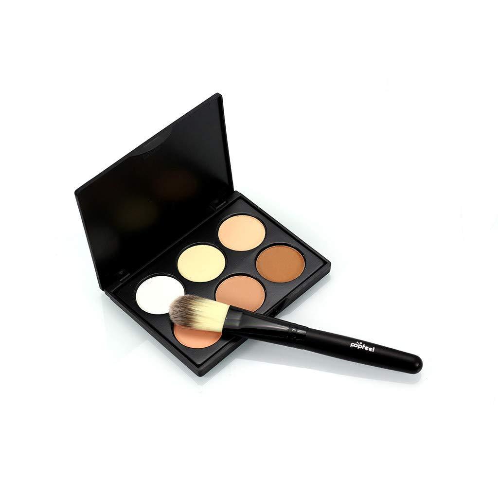 Tuu Mini 6 Colors Face Powder with Brush Camouflage Cream Contour Palette Suit (A)