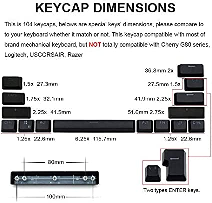 HUOGUOYIN Gaming Keyboard Russia keycap Replacement for Mechanical Keyboard is Compatible with Transparent keycaps Support LED Lighting Keyboard Blister Color : Black