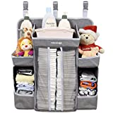 Crib Side Changing Table Minnebaby Baby Nursery Organizer and Diaper Caddy Organizer, Hanging Changing Table Diaper Stacker for Crib Storage and Nursery Organization