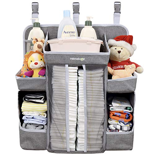 Minnebaby Baby Nursery Organizer and Diaper Caddy Organizer, Hanging Changing Table Diaper Stacker for Crib Storage and Nursery Organization from minne