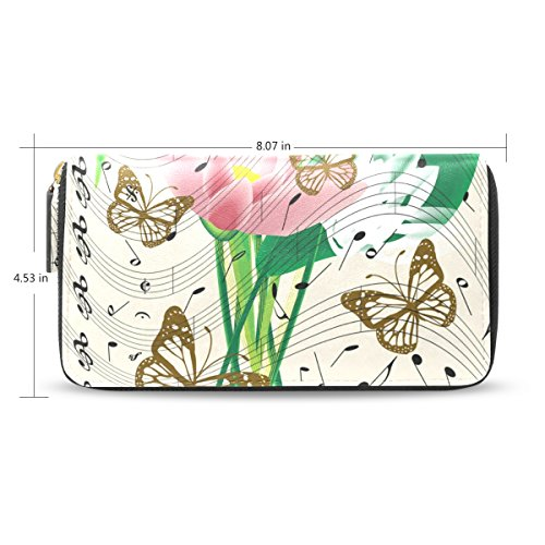 BENNIGIRY Music Leather Holder Women Clutch Long PU Notes Wallet Card Purse Credit Bags Butterfly 7qq4wrn