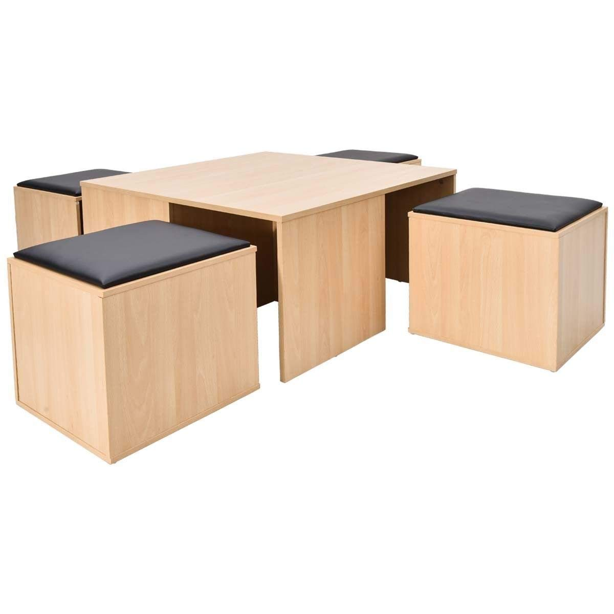 Giantex 5 Pcs Dining Table and Chair Set Wooden Dinette Table Set W/ 4 Storage Ottoman Stools for Living Room Dining Room Home Furniture Coffee Table and Chair Set (Nutural)