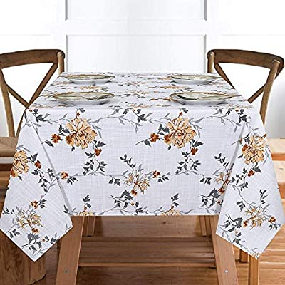 "Ruvanti Table Cloth (60X104"") 8-10 Seats Wrinkle Free 100%Cotton Rectangle Tablecloth Washable/Reusable. White & Fall Color Table Cloths Table Cover for Christmas/Thanks Giving Dinners. - 【Premium Quality Wrinkle Proof Fabrication 】 Constructed with Top Notch Quality 100 % Organic Cotton Duck Weave Fabric which is more Wrinkle-Proof and Shrink-Proof than any other Cotton Fabrics. Edges are hemmed and sewn with mitted corners as the way table cloths were sewn in the old classic time. 【Elegant Colors Perfect For Indoor & Outdoor 】Ruvanti's colorful and vibrant pattern brings new life into your table linen. These color patterns bring Charm in Tablecloth and Blow a Fresh Breeze Into your dinning room. Their seamless one piece design makes it a great tablecloth for indoor and outdoor use. Printed with Charm full colors these tablecloths appears a sense of modern style, great for decorating your dining room, or any indoor event & outdoor Pool / BarBQ Parties. 【Multi Purpose Utilization】Ruvanti's excellent premium quality table cloth is of best for use both in business such as restaurants /hotels and or home settings; these are brilliant as table covers for indoor and outdoor use, patio, gardens, kitchen room, dining room, and family room. Comes in different sizes these are great if you are hosting any weeding, birthday party, Cocktail party, Christmas or Thanksgiving dinner. - tablecloths, kitchen-dining-room-table-linens, kitchen-dining-room - 51hcrfwRNaL. SS400  -"