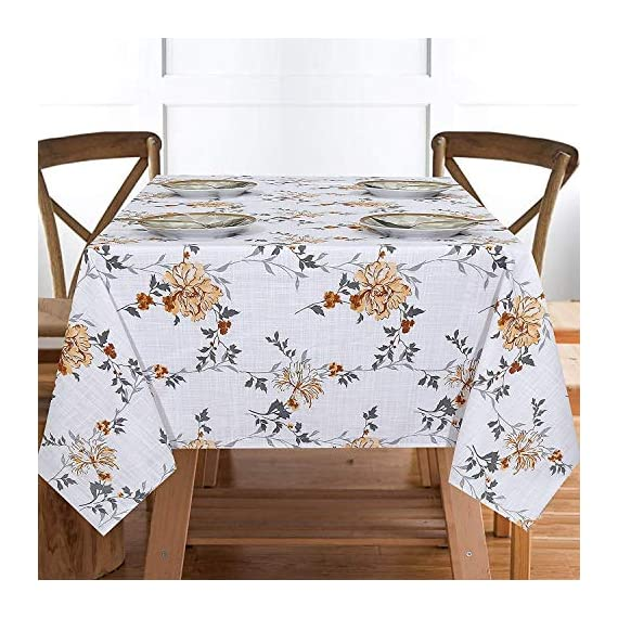 """Ruvanti Table Cloth (60X104"""") 8-10 Seats Wrinkle Free 100%Cotton Rectangle Tablecloth Washable/Reusable. White & Fall Color Table Cloths Table Cover for Christmas/Thanks Giving Dinners. - 【Premium Quality Wrinkle Proof Fabrication 】 Constructed with Top Notch Quality 100 % Organic Cotton Duck Weave Fabric which is more Wrinkle-Proof and Shrink-Proof than any other Cotton Fabrics. Edges are hemmed and sewn with mitted corners as the way table cloths were sewn in the old classic time. 【Elegant Colors Perfect For Indoor & Outdoor 】Ruvanti's colorful and vibrant pattern brings new life into your table linen. These color patterns bring Charm in Tablecloth and Blow a Fresh Breeze Into your dinning room. Their seamless one piece design makes it a great tablecloth for indoor and outdoor use. Printed with Charm full colors these tablecloths appears a sense of modern style, great for decorating your dining room, or any indoor event & outdoor Pool / BarBQ Parties. 【Multi Purpose Utilization】Ruvanti's excellent premium quality table cloth is of best for use both in business such as restaurants /hotels and or home settings; these are brilliant as table covers for indoor and outdoor use, patio, gardens, kitchen room, dining room, and family room. Comes in different sizes these are great if you are hosting any weeding, birthday party, Cocktail party, Christmas or Thanksgiving dinner. - tablecloths, kitchen-dining-room-table-linens, kitchen-dining-room - 51hcrfwRNaL. SS570  -"""