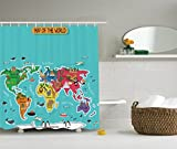 Ambesonne Colorful Educational Kids Maps Decor Collection, America Africa Asia Australia Pacific Indian Atlantic Ocean Image, Polyester Fabric Bathroom Shower Curtain Set with Hooks, Yellow Blue