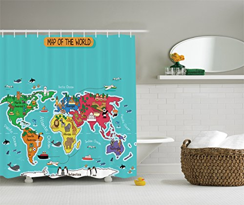 Ambesonne Colorful Educational Kids Maps Decor Collection, America Africa Asia Australia Pacific Indian Atlantic Ocean Image, Polyester Fabric Bathroom Shower Curtain Set, 75 Inches Long, Yellow Blue (Lion Ball Statue With)