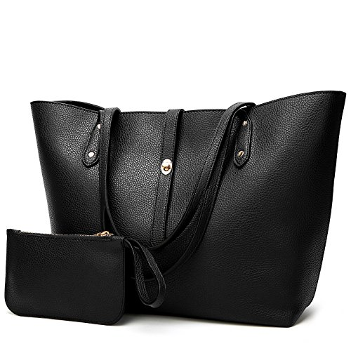 Large Black Handbag - YNIQUE Satchel Purses and Handbags for Women Shoulder Tote Bags Wallets