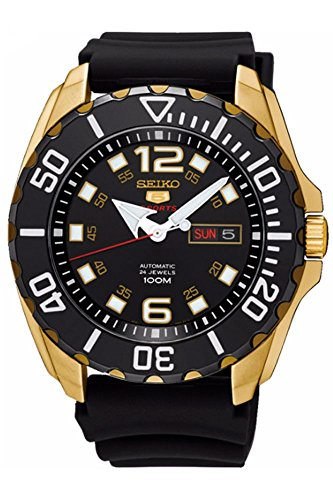 - SEIKO 5 'Baby Monster' 100M Automatic Watch Gold Tone Rubber Strap SRPB40K1