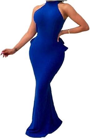DressUWomen Damska mermaid schwanz rückenausschnitt ärmel sexy cocktail-dünnes abendkleides: Odzież