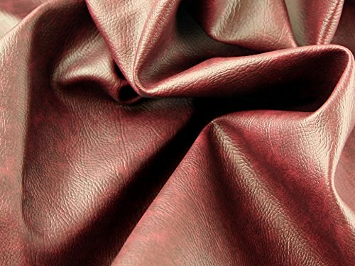 Fire Retardant Leathercloth Faux Leather Pleather Fabric Deep Red - per metre