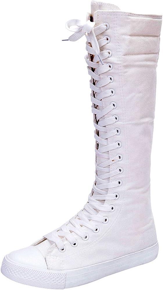 Rismart Mujer Rodilla Alta Zapatos De Baile Lona Botas SN811 ...