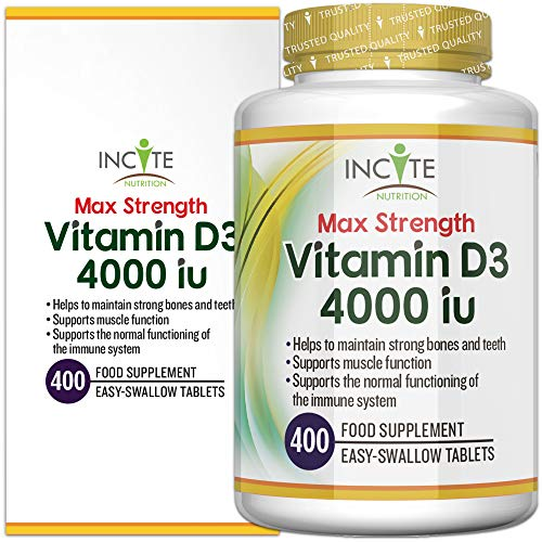 Vitamin D 4000iu | 400 Premium Vitamin D3 Easy-Swallow Micro Tablets | One a Day High Strength Cholecalciferol VIT D3 | Vegetarian Supplement | Made in The UK by Incite Nutrition®