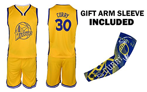 Steph Curry Jersey Kids Basketball Yellow Curry Jersey & Shorts Youth Gift Set ✓ Basketball Compression Shooter Arm Sleeve ✓ Premium Quality (YM 8-10 Years, Curry Jersey Gift Set)