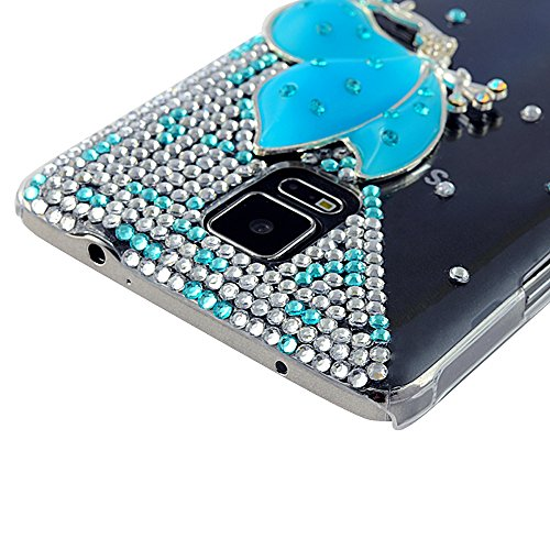 Note 4-Mavis's Diary 3D Handmade Crystal Design Bling Clear Case Cover for Samsung Galaxy Note 4 SM-N910S SM-N910C with Soft Clean Cloth (Blue Butterfly Fairy Clear Case)