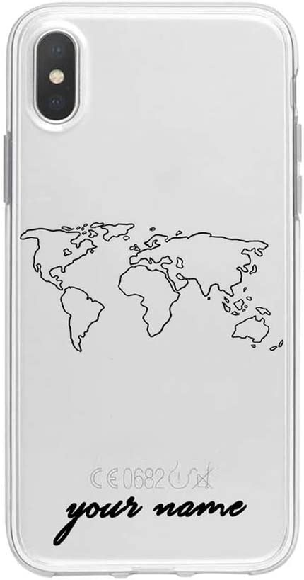 World Map Travel Plans Clear Soft Phone Case Compatible for iPhone Compatible for iPhone X XS Max 7 8 6 Plus XR Cases,Compatible for iPhone 5 5s Se,132