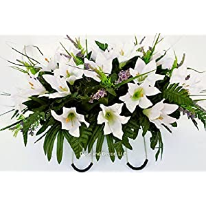 Cemetery Spring Flowers ~Spring white lilly mix~headstone saddle arrangement~cemetery flower service~grave site decor~sympathy flowers~flowers for graves~Lillies and wildflowers 3