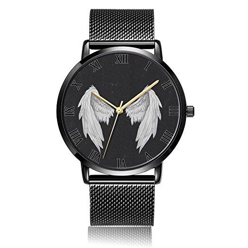 Kusa Fashion Angel Wings Wrist Watch  Angel Wings Pattern Design Silver Steel With Stainless Steel Wrist Watch For Women And Men
