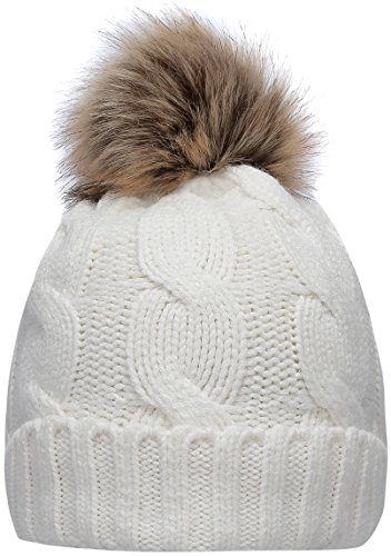 NEOSAN Women's Winter Ribbed Knit Faux Fur Pompoms Chunky Lined Beanie Hats Twist White
