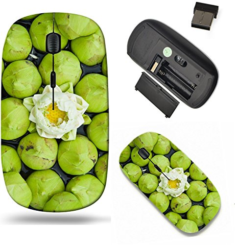 Liili Wireless Mouse Travel 2.4G Wireless Mice with USB Receiver, Click with 1000 DPI for notebook, pc, laptop, computer, mac book A group of white lotus IMAGE ID 11139814