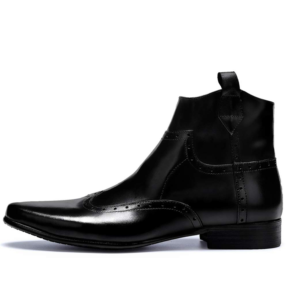 Qiusa Brogues Stiefel für Männer Soft Sohle Durable Durable Durable Echtem Leder Atmungsaktive Stiefel (Farbe   Schwarz, Größe   EU 44) 77a962