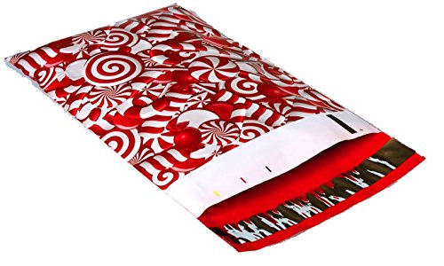 Poly Mailers Candy Cane Christmas Designer Poly Mailers Custom Bags Red & White Shipping Envelopes Plastic Bags #SmileMail (100 6x9, Candy Cane)