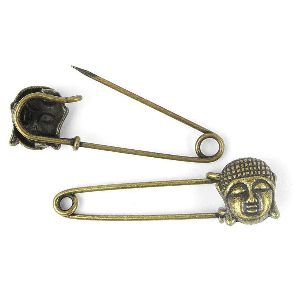 Price per 180 Pieces Antique Bronze Tone Jewelry Charms Findings Arts Crafts Beading Making Charmes 105073 Buddha Safety Pins Brooch by ebemallmall Charms (Image #1)