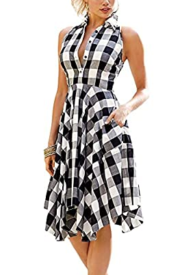 Farktop Women's Vintage Sleeveless Plaids Button Up Casual Shirt Dress