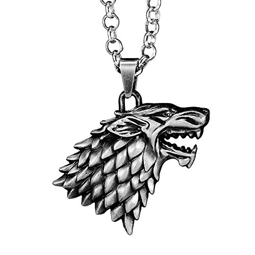 OCARLY Dire Wolf Logo Necklace Direwolf Pendant Winter Is Coming Zinc Alloy Family Tag House Badge Totem ()