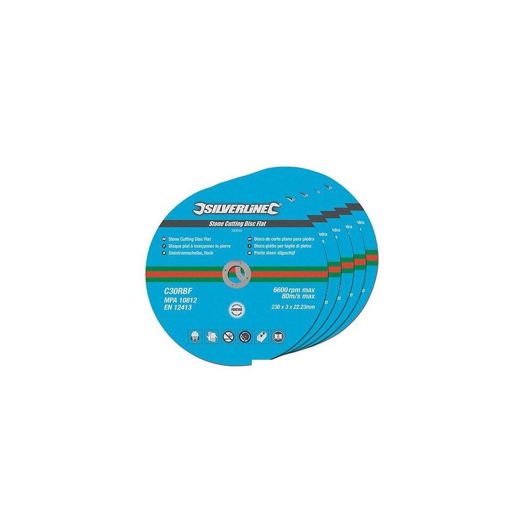 Silverline 380650 Stone Cutting Discs Flat 230 x 3 x 22.2 mm - Pack of 5 SLTL4
