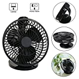 AMDMY USB Oscillating Fan Desktop Mini Quiet Personal Fan with Free Adjustable Speeds and 360°Rotating for Home Bedroom Office Outdoor Travel (Black)