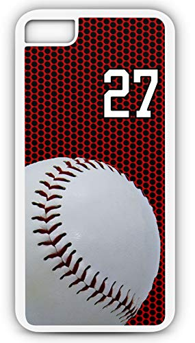 iPhone 7 Phone Case Baseball B035Z by TYD Designs in White Rubber Choose Your Own Or Player Jersey Number 27