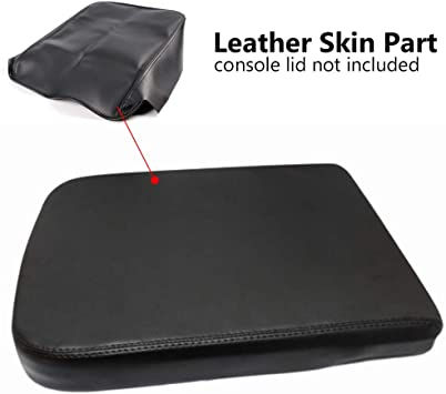 Black Center Console Lid Armrest Cover Synthetic Leather For 02-08 Dodge Ram