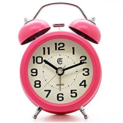 JCC 3 Retro Twin Bell Silent Non Ticking Sweep Second Hand Bedside Desk Analog Quartz Movement Alarm Clock with 5 min Snooze Repeat Alarm, Nightlight and Loud Alarm, Battery Operated (Hot Pink)