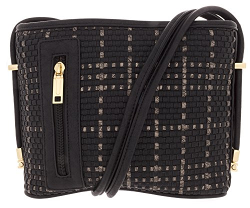 samoe-style-black-with-bronze-plaid-basketweave-texture-crossbody-handbag