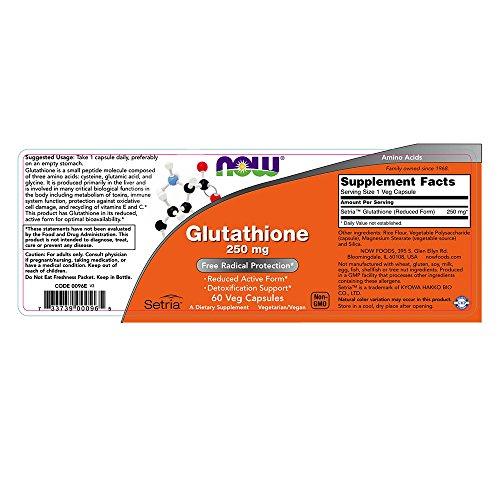 NOW Glutathione 250 mg60 Veg Capsules Discount
