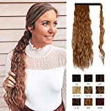 Sofeiyan Ponytail Extension 20 Inch Long Curly Wave Wrap Around Synthetic Clip in Hair Extension for White Black Women Party Daily Use, Light Auburn