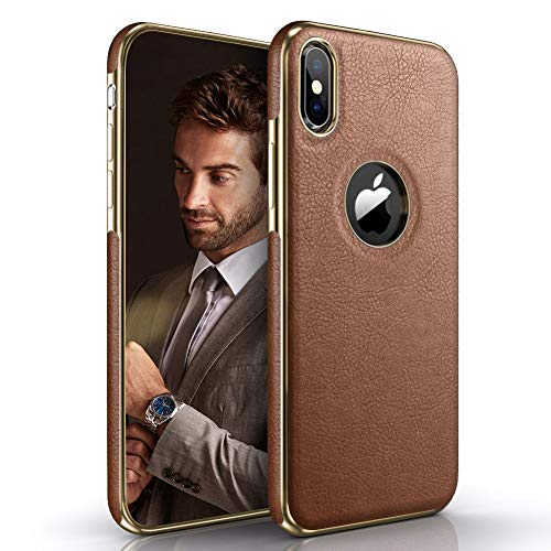 LOHASIC iPhone X Case, iPhone Xs Case Premium Leather Luxury Slim Soft Flexible Bumper Rugged Non-Slip Grip Anti-Scratch Shockproof Protective Cover Cases Compatible with Apple iPhone X 10 Xs (Brown)