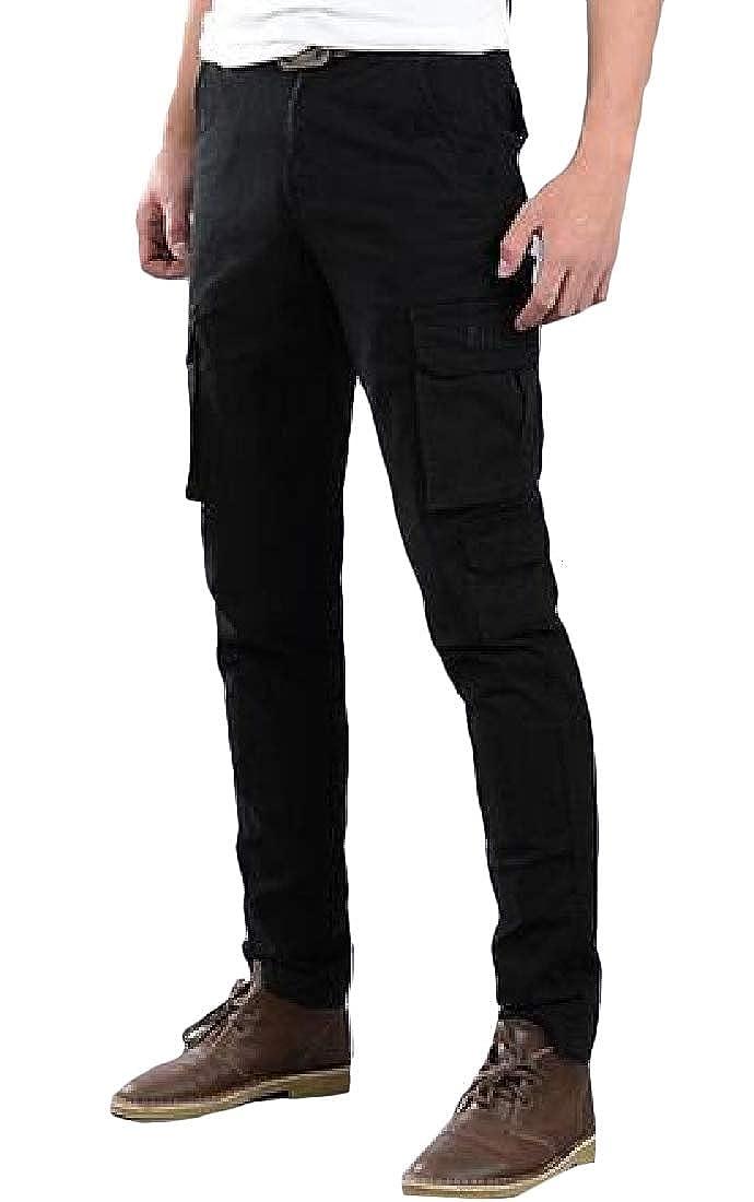 GLORYA Mens Cargo Sports Slim Stretch Multi Pockets Casual Pants