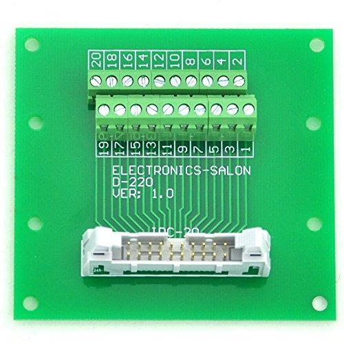 Electronics-Salon IDC20 2x10 Pins 0.1'' Male Header Breakout Board, Terminal Block, Connector.