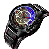 Watches for Men Black Leather Band Waterproof Sports Men's Wrist Watches Date Chronograph Quartz Men Watches