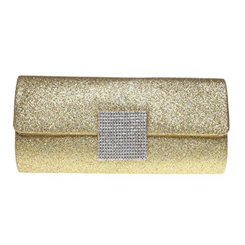 FASHIONROAD Fashion Road Evening Clutch, Womens Glitter Rhinestone Clutch Purses For Wedding & Party Gold - Elegant Evening Shoes