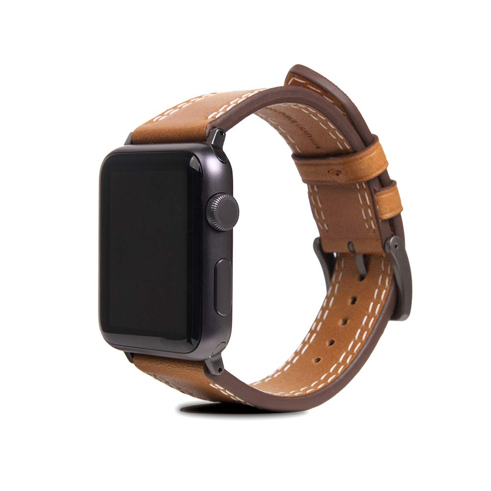 [SLG DESIGN] D+ Italian Temponata Leather Strap Band for Apple Watch 4 44mm 42mm iWatch Series 1 2 3 Nike Sports Replacement Strap Bands Dressy Black Stainless Steel Adapters (Tan)