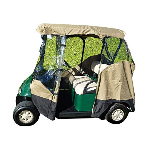 (Formosa Covers Premium Tight Weave 3 Sided Drivable Golf Cart 2 seater Enclosure with Zippered door, fits E Z GO, Club Car and Yamaha G model roof up to 58