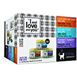 """I and love and you"""" Chicken Me Out, Purrkey Turkey, Oh My Cod! Pate Grain Free Canned Cat Food, 3 oz (Pack of 12)"""