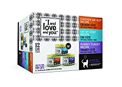 I & Love & You Chicken Me Out, Purrkey Turkey, Oh My Cod! Pate Grain Free Canned Cat Food, 3 Oz (Pack Of 12)