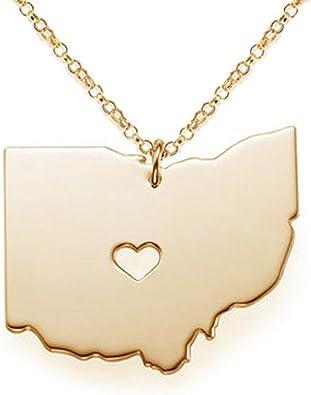 Ohio Necklace gold Ohio necklace state jewelry necklace state necklace Ohio state necklace Ohio state jewelry Ohio Ohio jewelry
