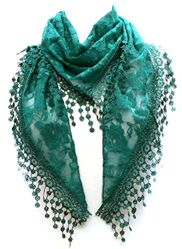 LL Lace Scarf Hunter Green Triangle Fashion Accessory Hanging Flower Tassels
