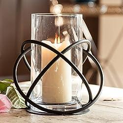 Danya B Large Metal and Glass Orbits Hurricane Candleholder