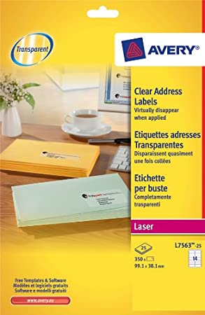 Avery L7563-25 Clear Address Labels - for Laser Printers (99.1 x ...